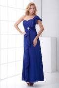 Elegant One Shoulder Ruffles Brooch Chiffon Evening Dress