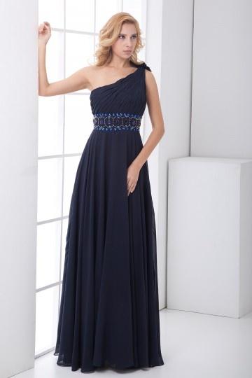 Robe longue empire ornée de fleurs faites main rhinestones mousseline bleue