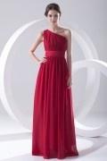 Robe longue rouge encolure asymétrique simple plissée