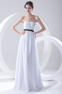 Robe blanche simple demoiselle d'honneur bustier Empire