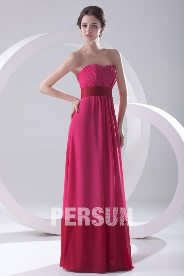 robe longue fuchsia simple bustier cœur plissé pour mariage invité