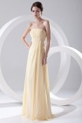 Elegant Beaded Strapless Yellow Chiffon Formal Bridesmaid Dress