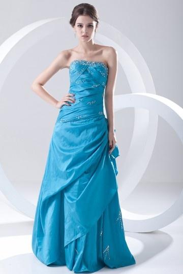 Robe de bal bleu bustier en taffetas ornée de paillettes