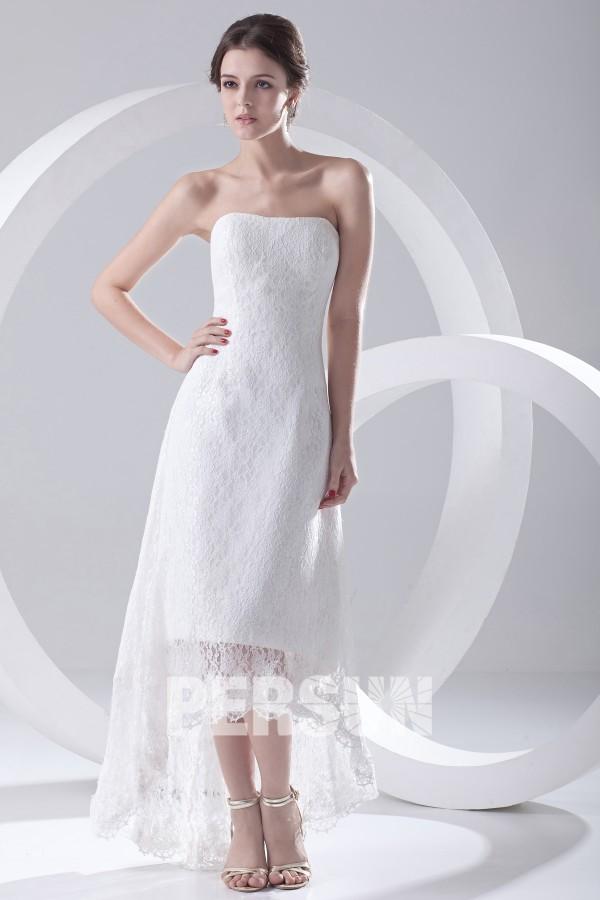 Robe de mariée dentelle bustier à bord asymétrique