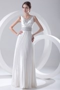 Chic V Neck Satin White Sequins Long Formal Bridesmaid Dress