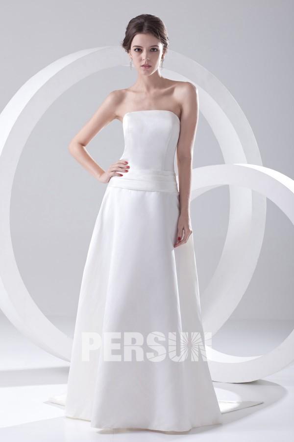 Robe demoiselle d'honneur blanche bustier simple en satin