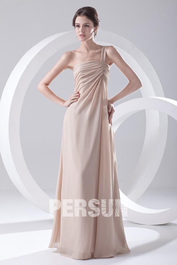 Robe demoiselle d'honneur longue à une épaule simple