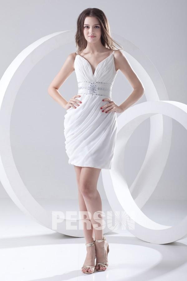a1f7355512 Robe blanche de soirée col V courte fourreau – Persun.fr