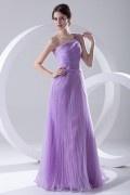 Robe longue de soirée lilas encolure asymétrique ruchée