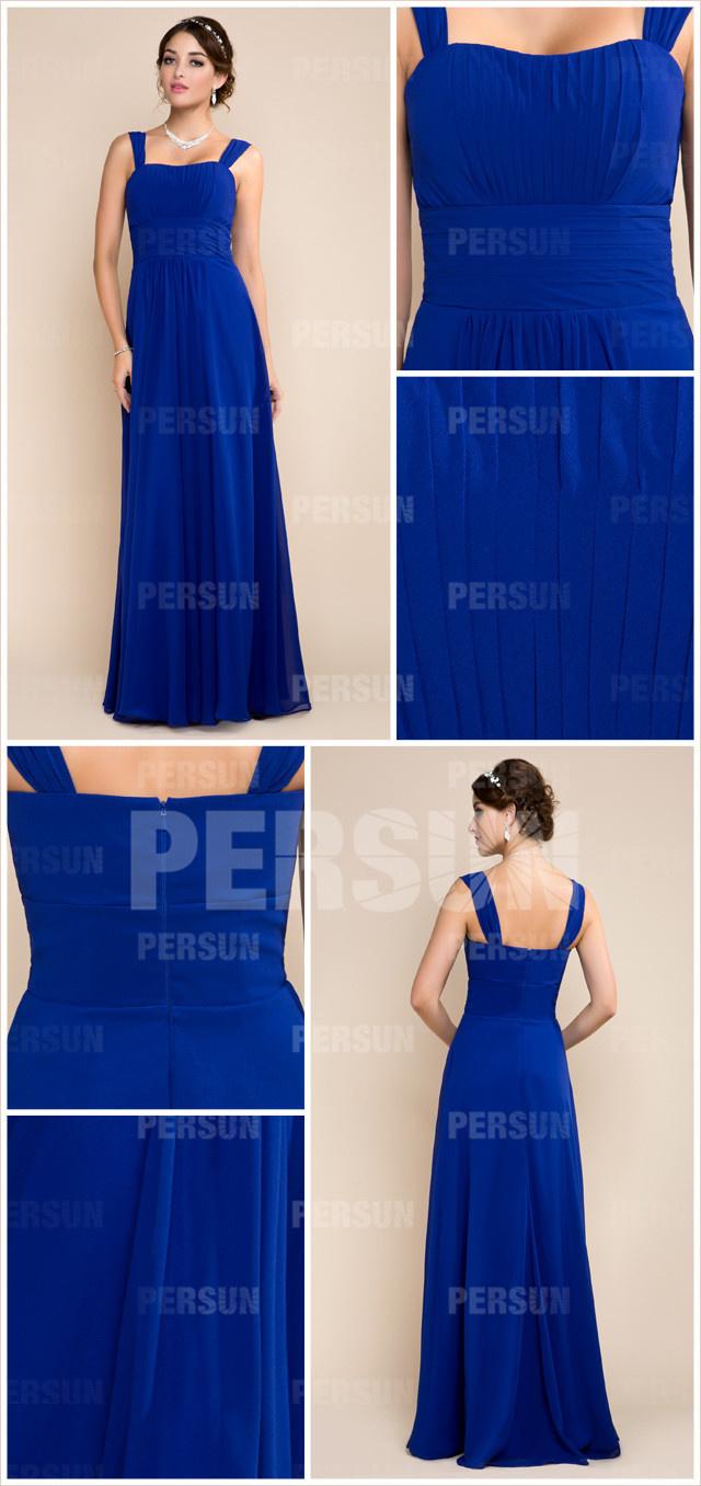 Robe bleue longue pour cortège femme mariage avec bretelles