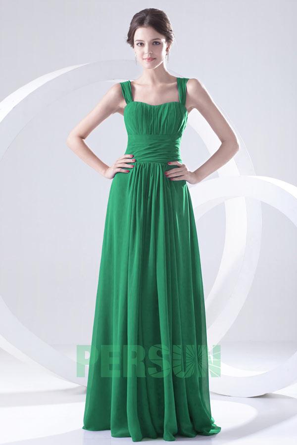 robe de soirée longue vert col carré plissé à bretelle