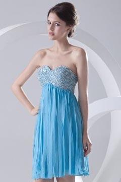 Robe de cocktail bleu bustier coeur courte à corsage pailleté