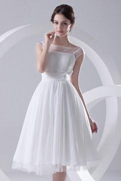 Robe de mariée courte col bateau plissée à mancheron