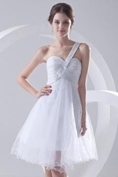 Robe de bal blanche à une épaule en tulle courte Empire