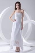 Strapless Asymmetrical Hemline Ankle Length Lace Formal Dress