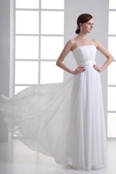 Robe de bal blanche longue simple plissé
