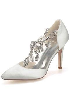 Escarpin / Sandale fuchsia pour soirée mariage à bride en chaîne stras