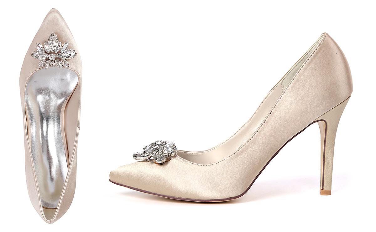 escarpins champagne clair à talon 9 cm embelli de bijoux