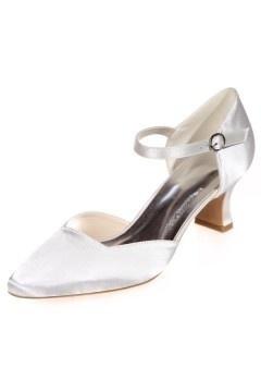 Sandale de mariage blanc cassé chic à talon bas