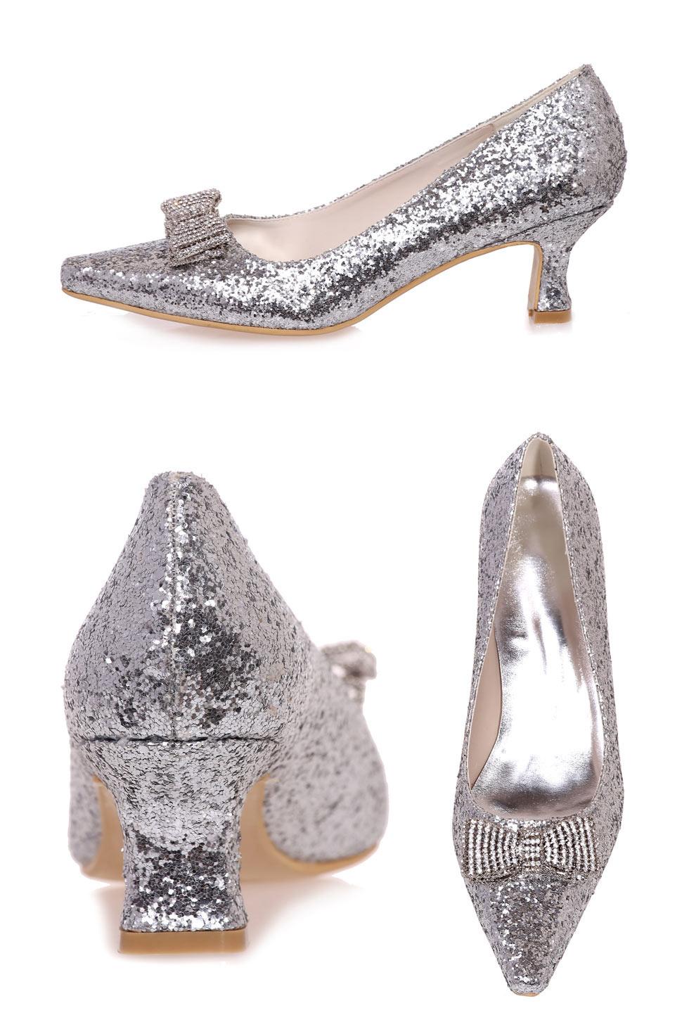 chaussures de mariage en argent à talons bas en sequin