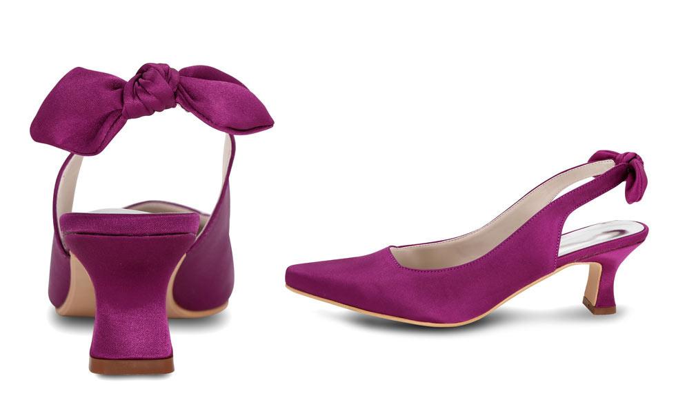 Slingback chic violet avec noeud