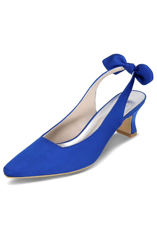 Slingback chic bleu royal avec noeud