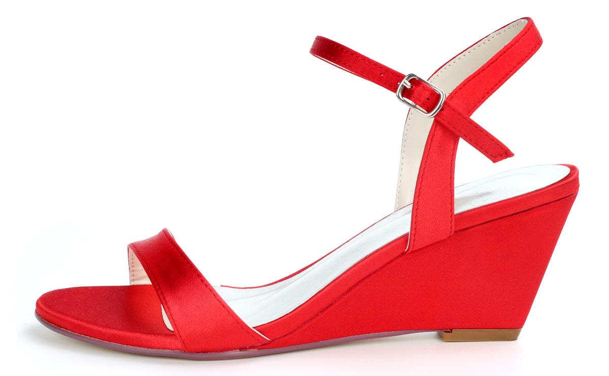 sandales de mariage simple rouge à talon compensé