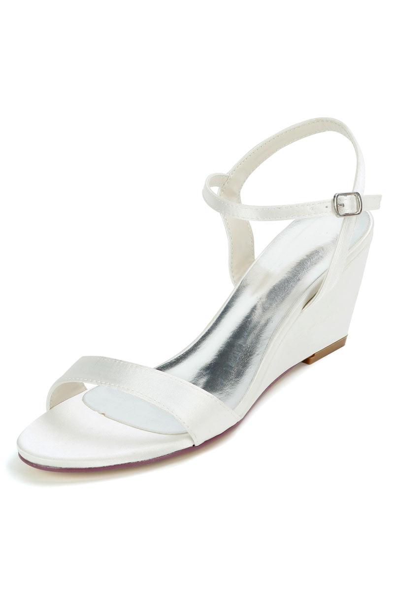 sandales de mariage simple à talon compensé