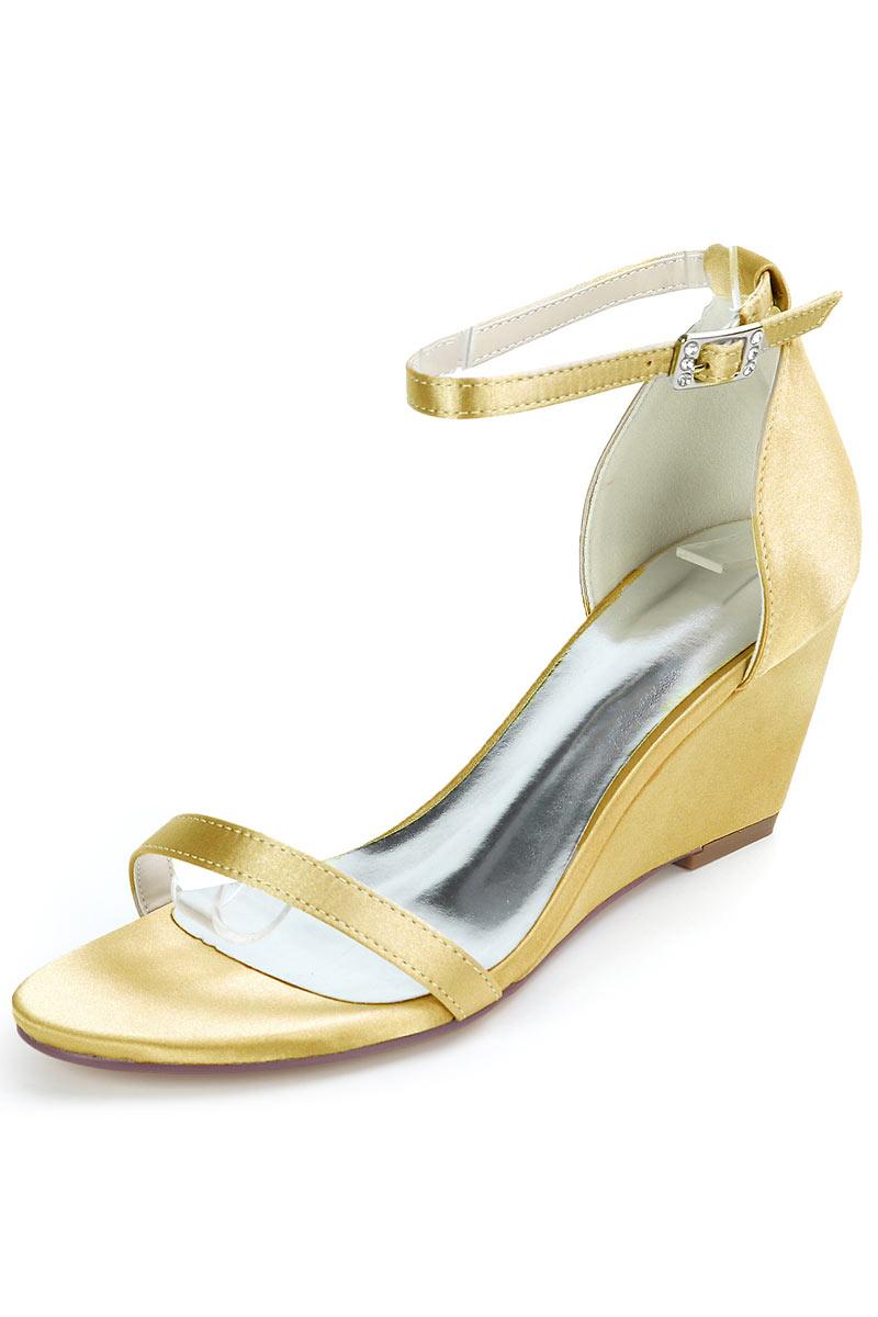 Sandale de mariage dorée à talon compensé