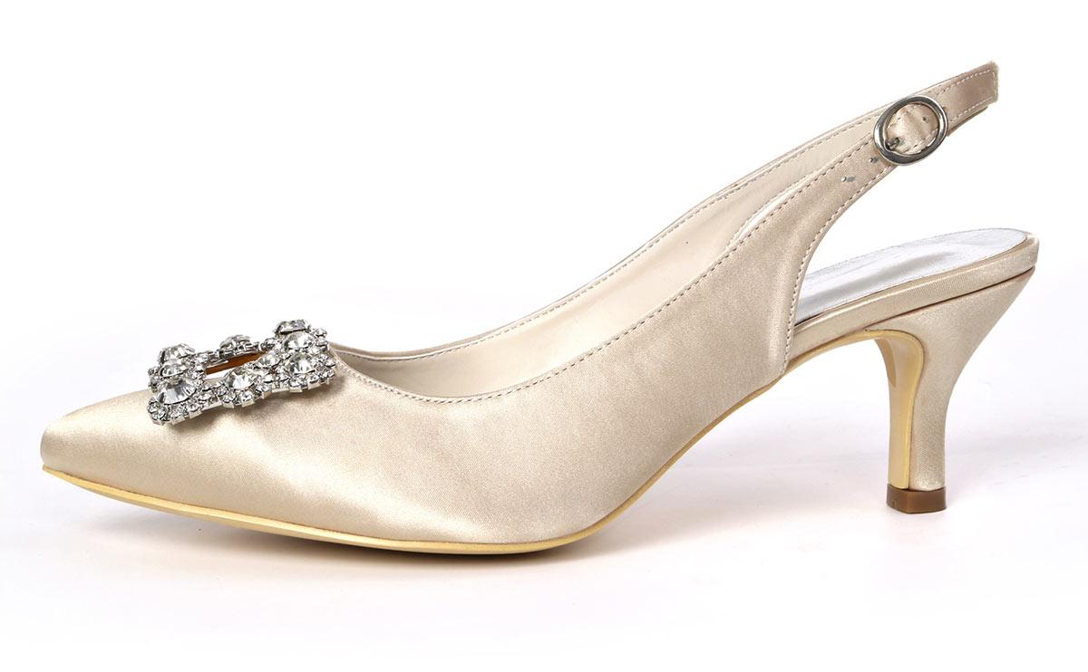 chaussure slingback petit talon pour mariage champagne pas cher