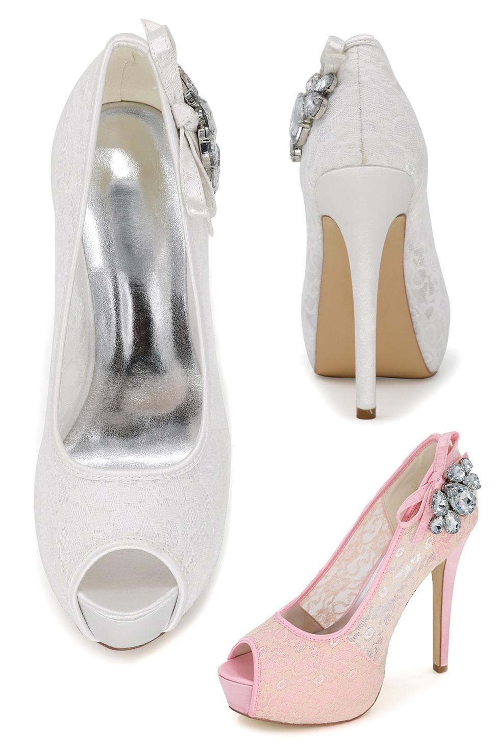 chaussures de mariage plate-forme bout ouvert en dentelle