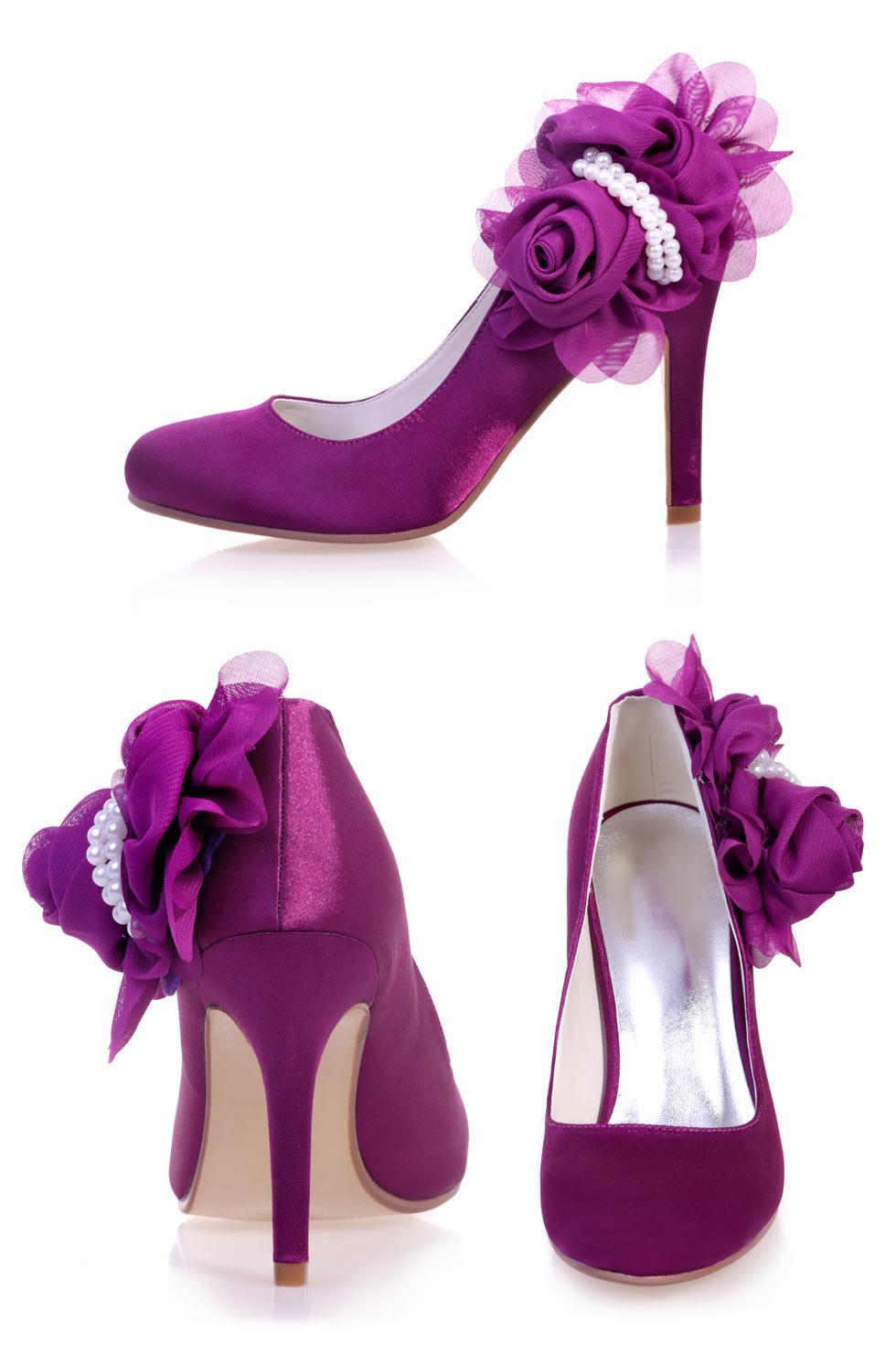 escarpin mariage violet fleuri & perle