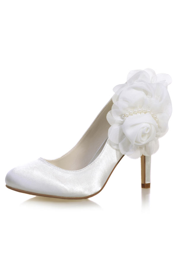 jolie et colorée meilleur endroit magasin en ligne Escarpins de mariage ivoire fleuri & perlé - Persun.fr