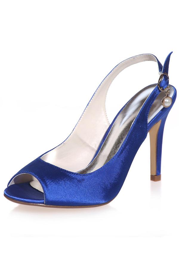 simple slingback bleu bout ouvert orné de perle