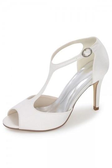 Sandales de mariage à talon style salomé bout ouvert