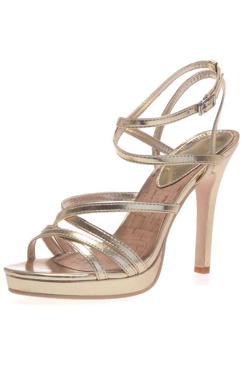 Sandales femme dorées sexy à talon haut
