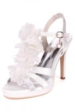 Sandales à talon haut pour mariage argenté avec fleurs