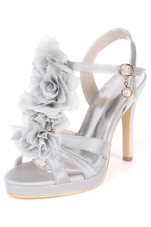 nouveau produit de270 7a2f7 Sandales à talon haut pour mariage argenté avec fleurs ...