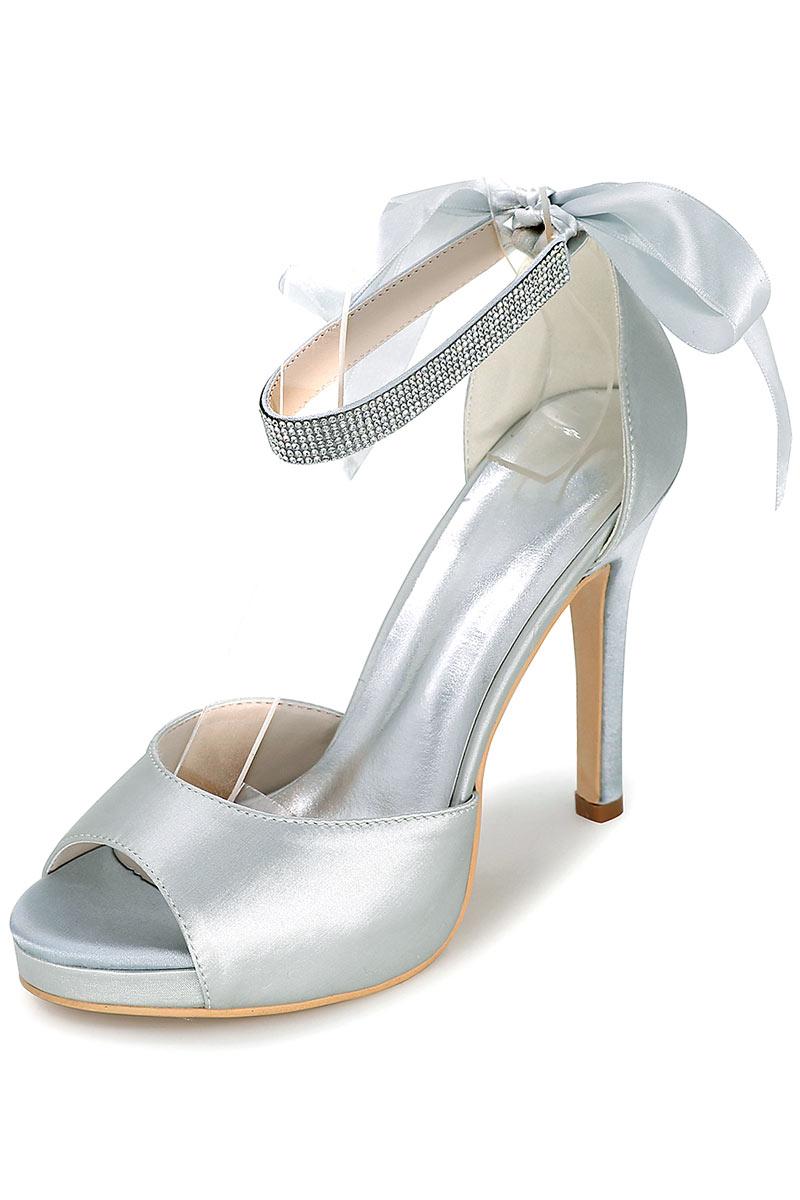 Escarpins / sandales argenté avec plate-forme bout ouvert