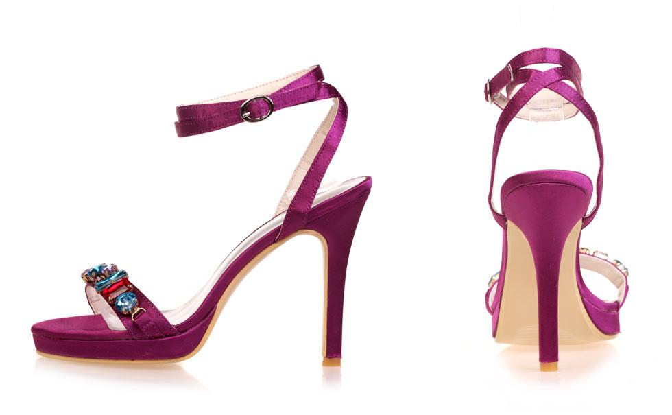sandale femme à talon violet classe