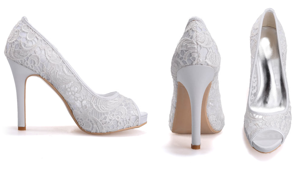 chaussure de mariée simple en dentelle à bout ouvert