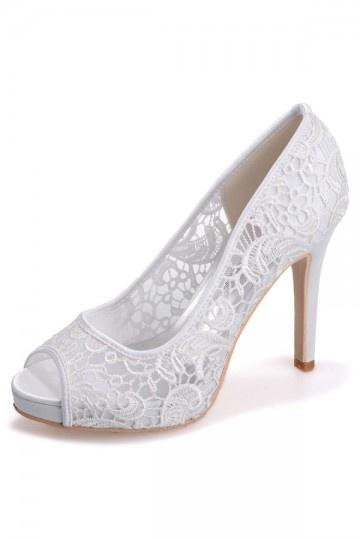 9ca742470a2c Escarpin de mariage bout ouvert en dentelle guipure ivoire - Persun.fr