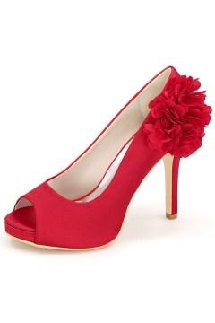 Escarpin rouge pompom bout ouvert pour mariage & soirée