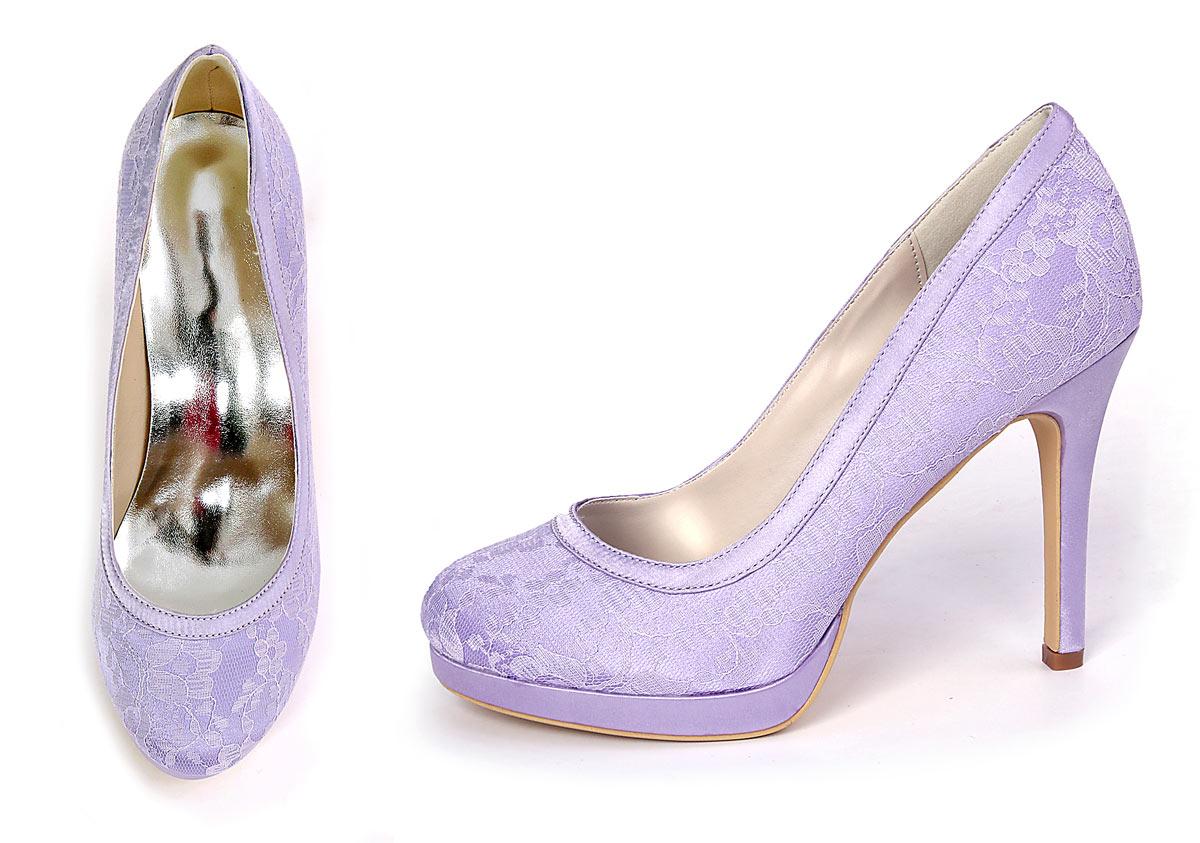 escarpin lilas dentelle pour mariée pas cher avec plate-forme