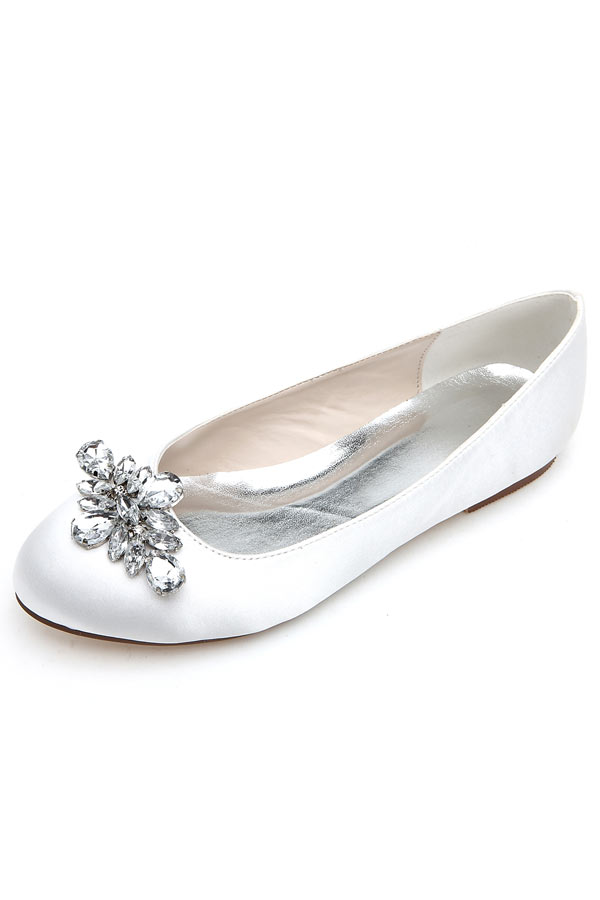 ballerines blanches plate simple embelli de strass