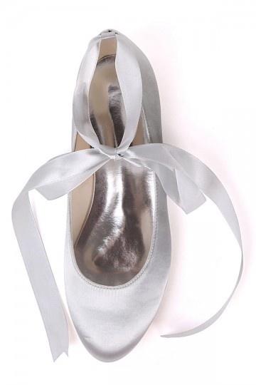 Ballerines champagne avec ruban à nouer pour cortège de mariage