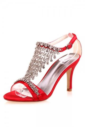 sandale rouge orné de strass pas cher