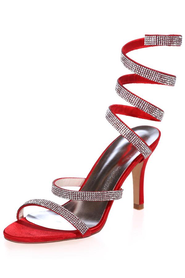 Sandales rouge à talon bride spirale en strass