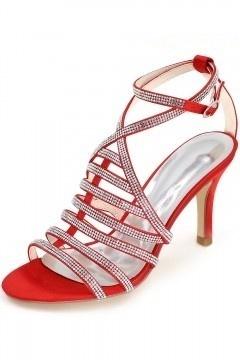 Sandales à talon élégantes rouge avec bandes de strass