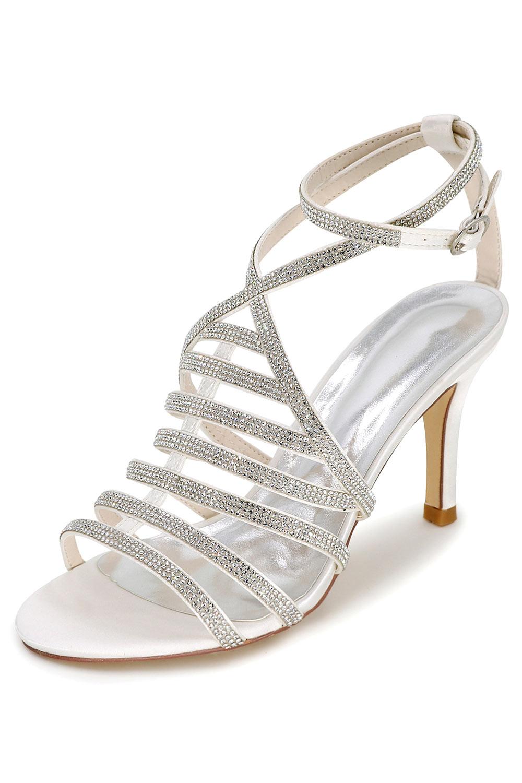 Sandales à talon élégantes blanches avec bandes de strass
